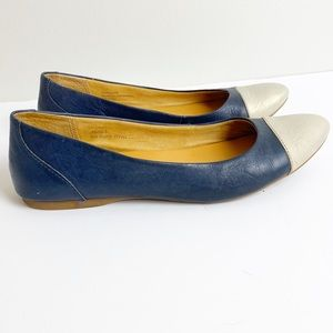 Korks Leather Flats Blue & Silver Flats